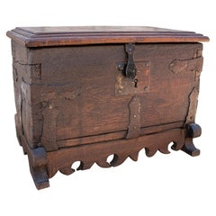 18th Century Spanish Wooden Trunk with Iron Hardware