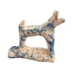 18th Century Staffordshire Blue and White Glazed Dog Whistle
