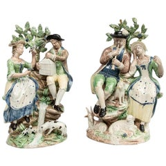 18th Century Staffordshire Pearlware Pair of Large Figure Groups