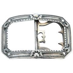 Georgian Sterling Silver Engraved Sash Buckle, 1825