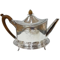 18th Century Sterling Silver Oval Engraved Teapot on Stand by Peter Ann Bateman