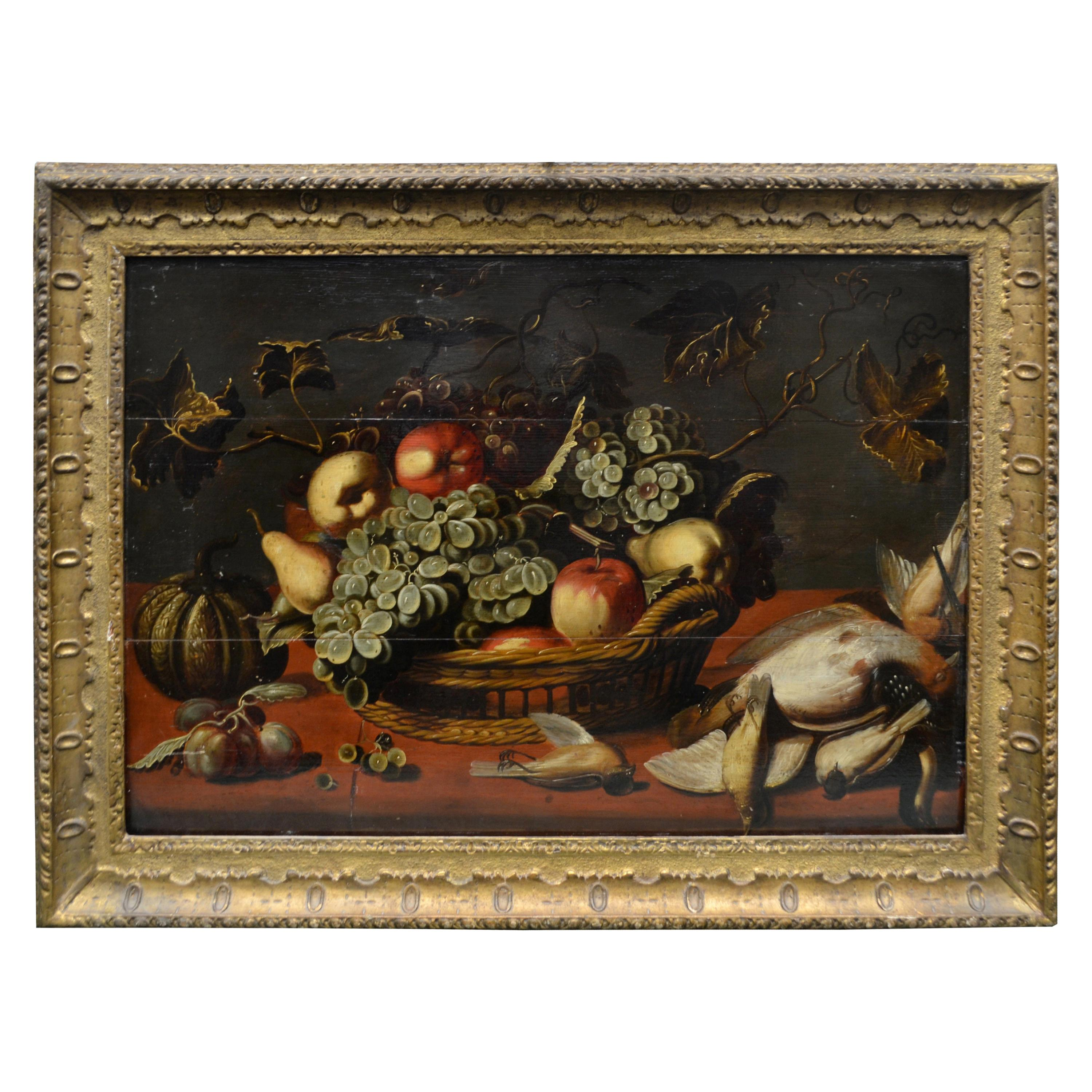An 18th Century Dutch or Flemish Still Life of fowl and fruit on Panel