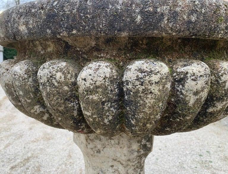 Hand-Crafted 18th Century Stone planter birdbath on colomn For Sale