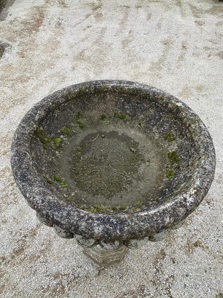 Sandstone 18th Century Stone planter birdbath on colomn For Sale