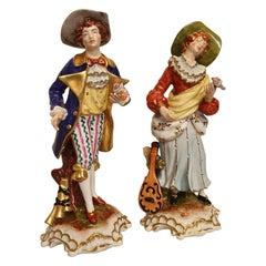 "18th Century Style Capo Di Monte Porcelain Figure ""Woman with Mandolino and Man"""