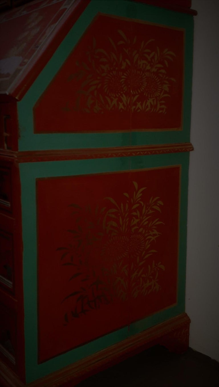 19th Century 18th Century style Chinoiserie Red Lacquer Bureau Bookcase For Sale