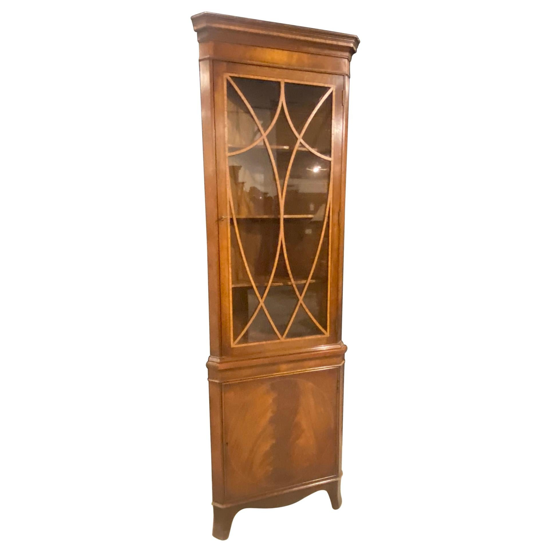 18th Century Style Corner Cabinet, Mahogany with Satinwood and Figured Mahogany