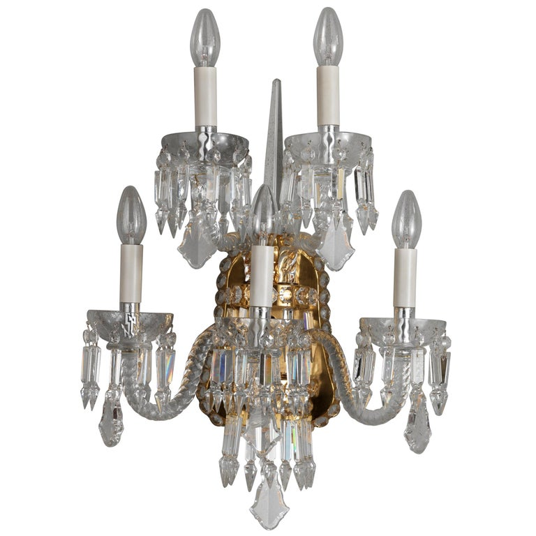 18th Century Style Crystal and Blown Glass Five-Lights Wall Sconce 1