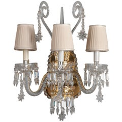 18th Century Style Crystal and Blown Glass Three-Lights Wall Sconce