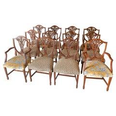 18th Century Style Hepplewhite Dining Chairs, Set of 12, Mahogany Shield Back