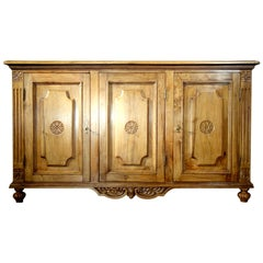 18th Century Style Italian 3-Door Natural Walnut Credenza, Custom Cabinet Line