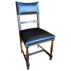 18th Century Style Italian Carved Solid Walnut Side Chair with Leather & Tacks