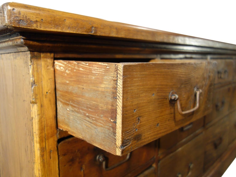 18th Century Style Italian Old Fir 12 Drawer Pharmacy Cabinet, Custom Sizes For Sale 4