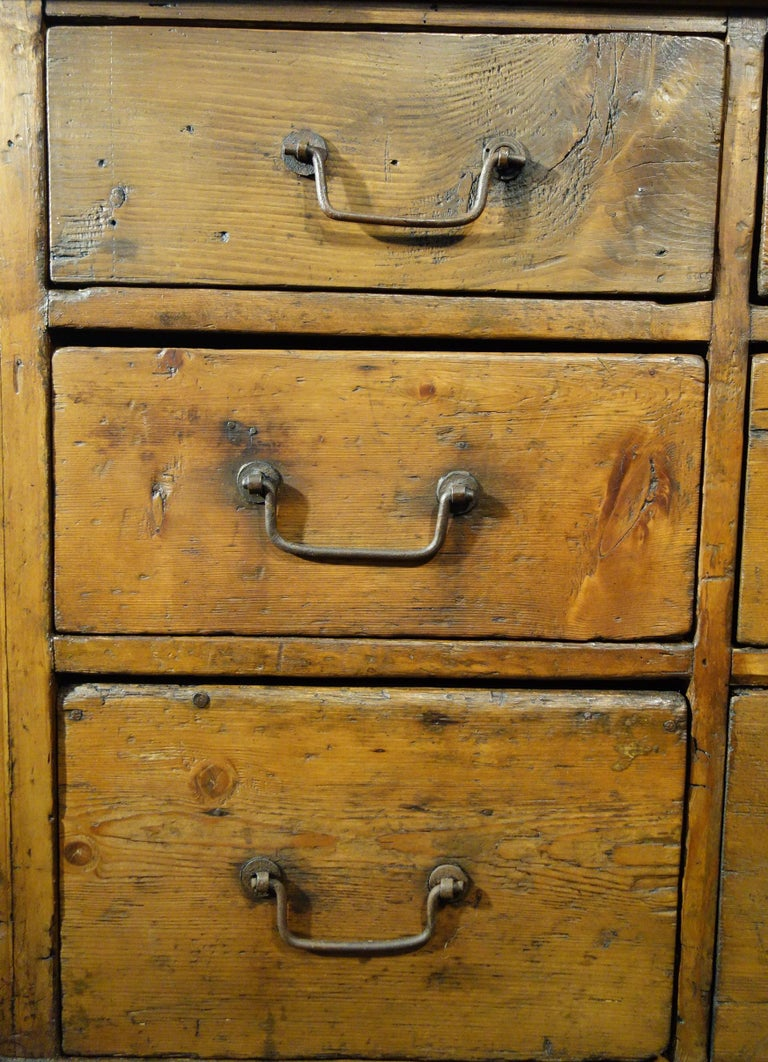 18th Century Style Italian Old Fir 12 Drawer Pharmacy Cabinet, Custom Sizes For Sale 9