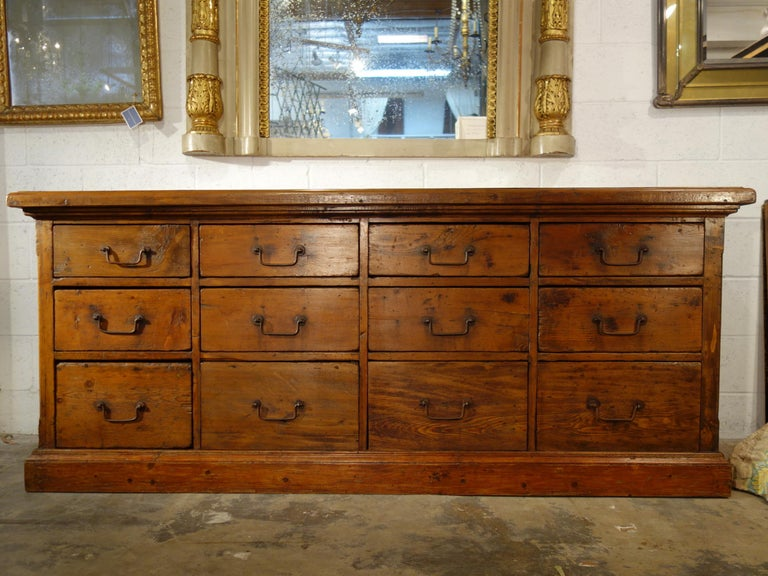 Baroque 18th Century Style Italian Old Fir 12 Drawer Pharmacy Cabinet, Custom Sizes For Sale