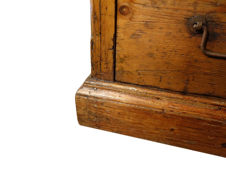 18th Century Style Italian Old Fir 12 Drawer Pharmacy Cabinet, Custom Sizes For Sale 3