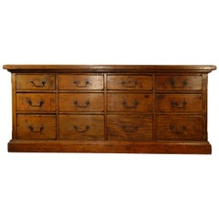 18th Century Style Italian Old Fir 12 Drawer Pharmacy Cabinet, Custom Sizes