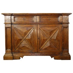 18th Century Style Italian Rustic Old Chestnut Credenza, Custom Size Available