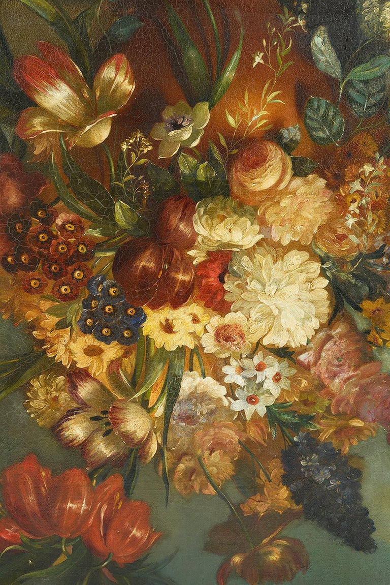 A very impressive 19th century oil on canvas still life painting of exotic flowers in a vase, in the 18th century style. Mounted in a gilded molded frame.