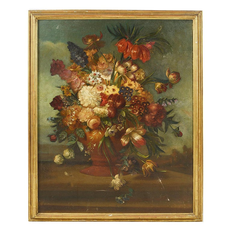 18th Century Style Oil on Canvas Still Life For Sale