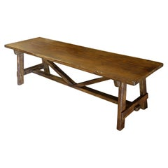 18th Century Style Capretta Solid Old Oak Bench Seating, Available Custom Size