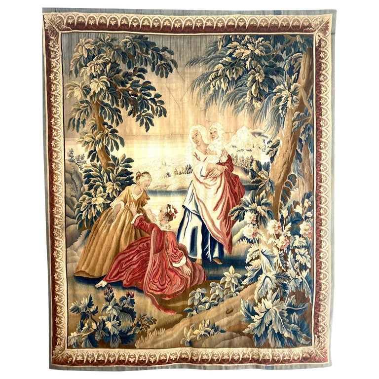 18th Century Sublime Royal Manufacture of Aubusson Tapestry, Louis XVI Period For Sale