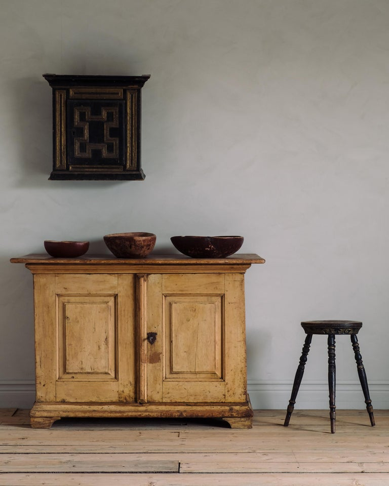 An unusual 18th century Baroque buffet or sideboard in its original finish with nine numbered drawers inside, circa 1740, Sweden.   Good condition with wear consistent with age and use. A detailed condition report is available on request.