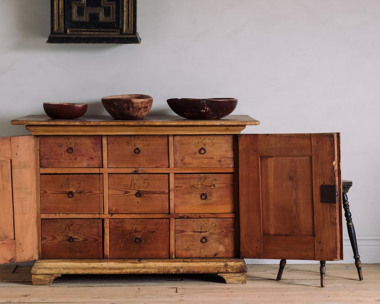 Hand-Crafted 18th Century Swedish Baroque Buffet For Sale