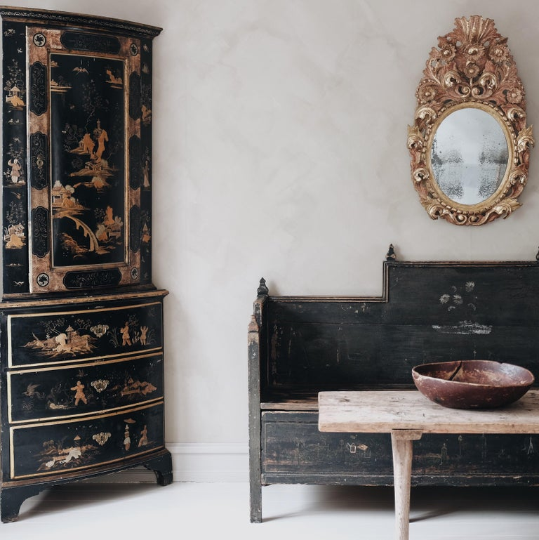 Hand-Painted 18th Century Swedish Baroque Corner Cabinet For Sale