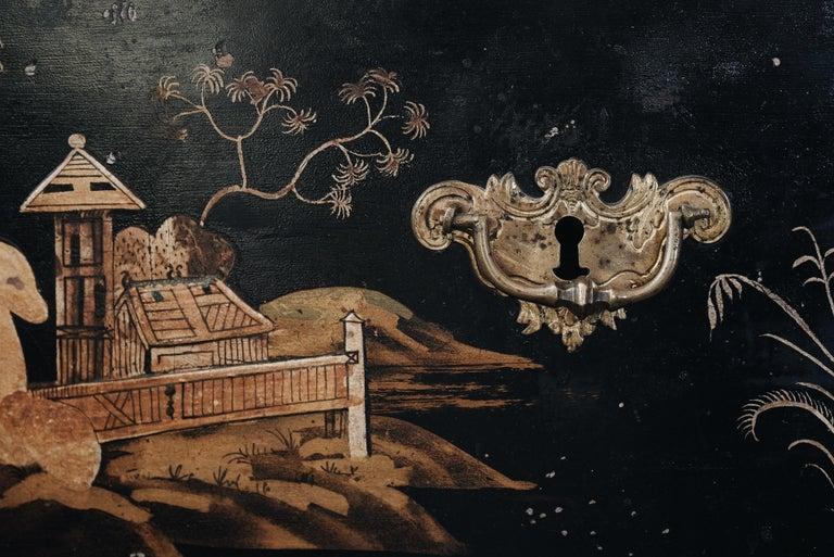 Wood 18th Century Swedish Baroque Corner Cabinet For Sale