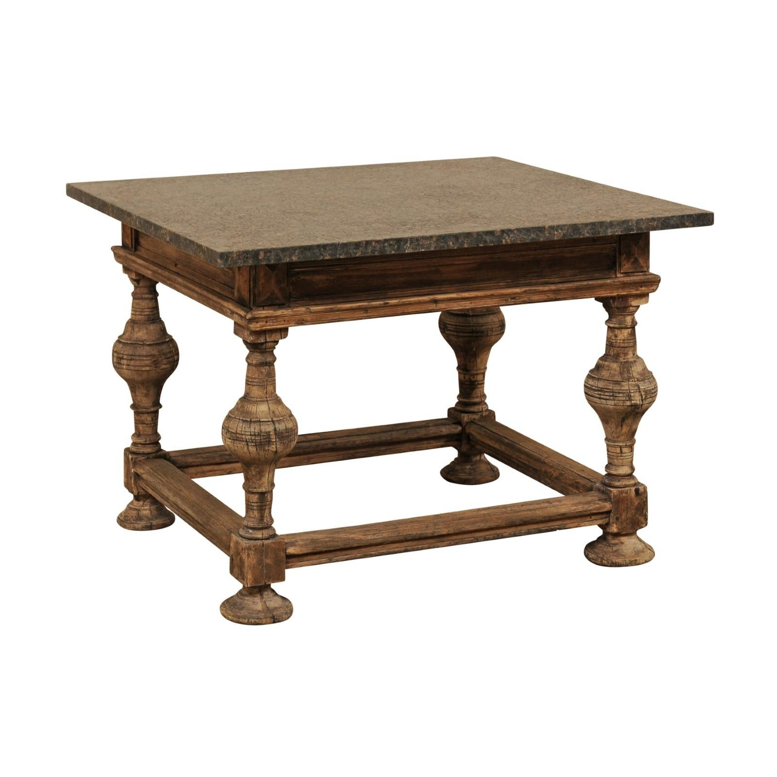 18th Century Swedish Baroque Occasional Table with New Honed Granite Top
