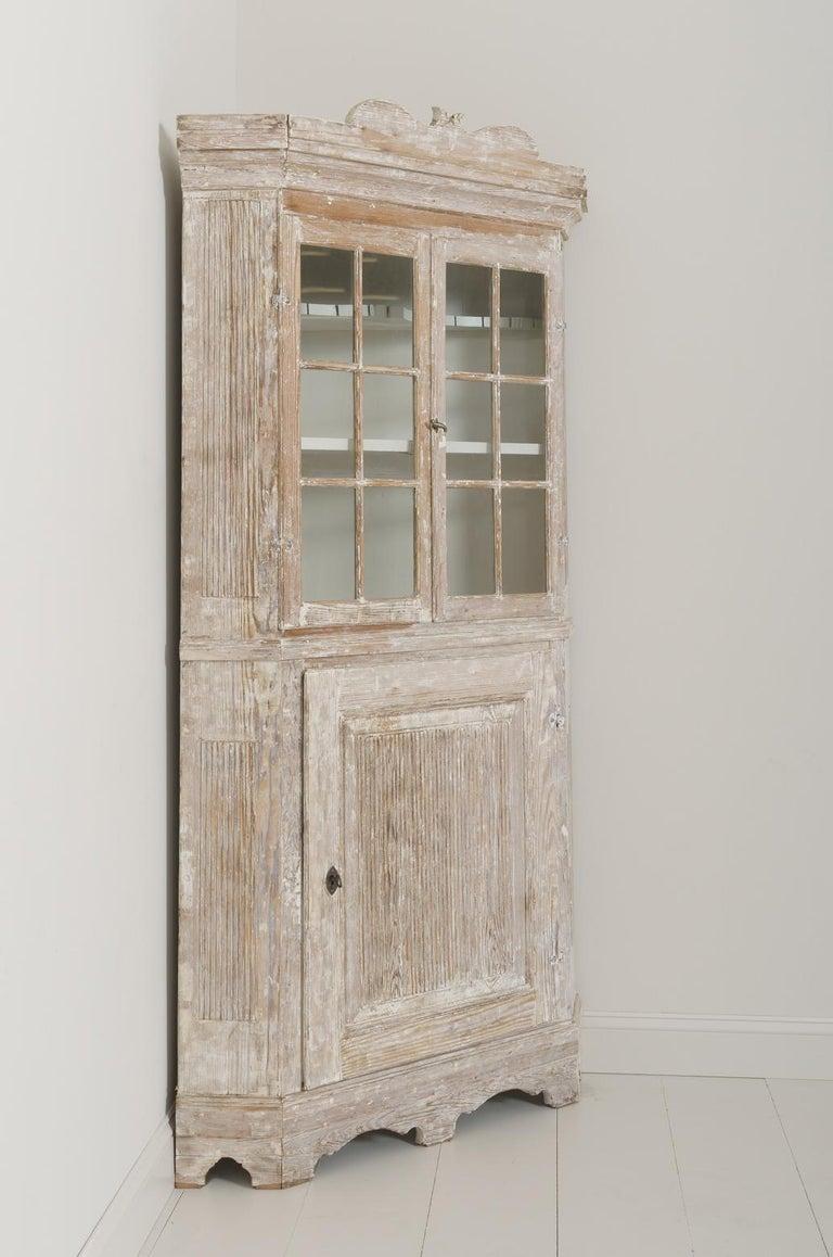 Glass 18th Century Swedish Baroque Period Corner Vitrine Cabinet in Original Paint For Sale