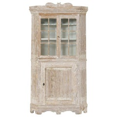 18th Century Swedish Baroque Period Corner Vitrine Cabinet in Original Paint