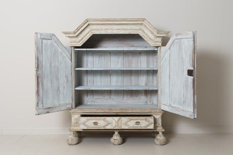 18th Century Swedish Baroque Period Linen Press Armoire Cabinet For Sale 4