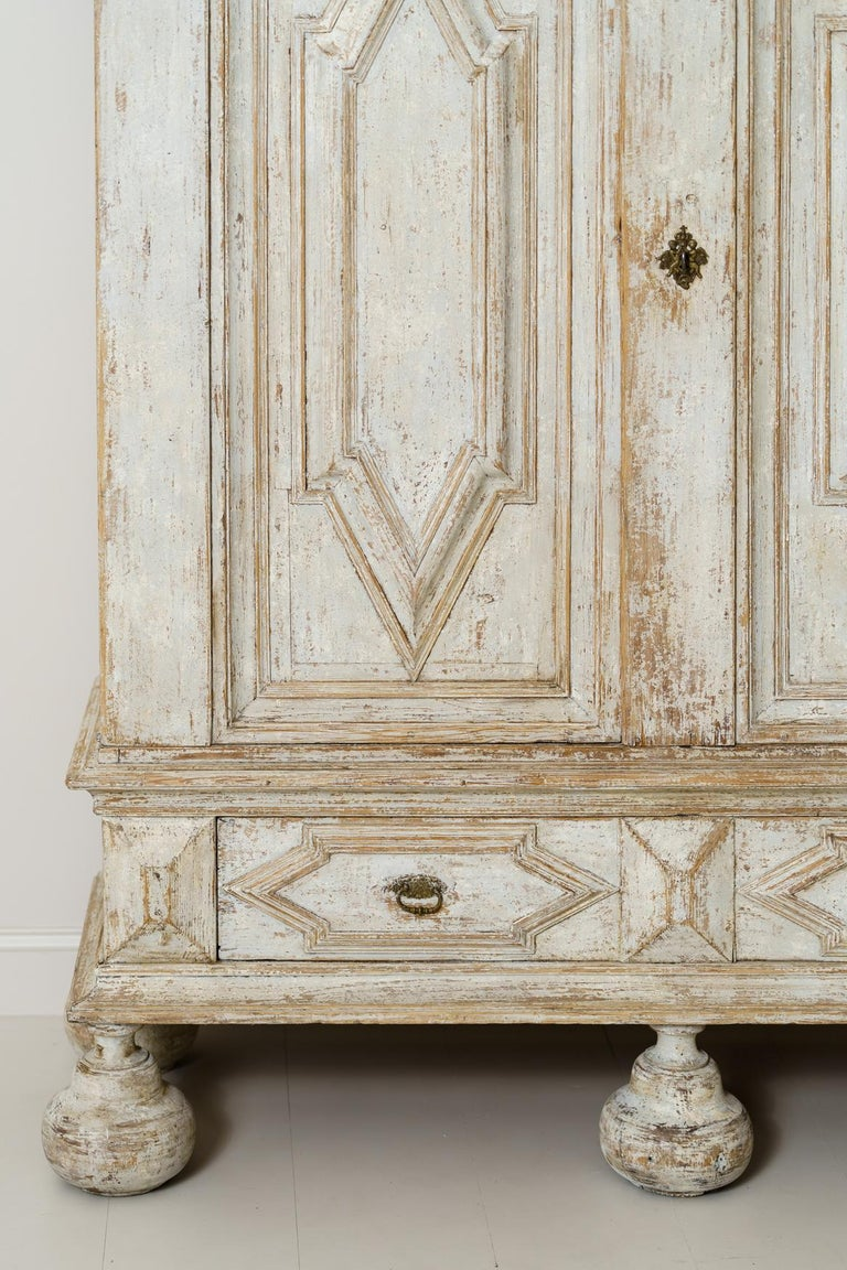 18th Century and Earlier 18th Century Swedish Baroque Period Linen Press Armoire Cabinet For Sale
