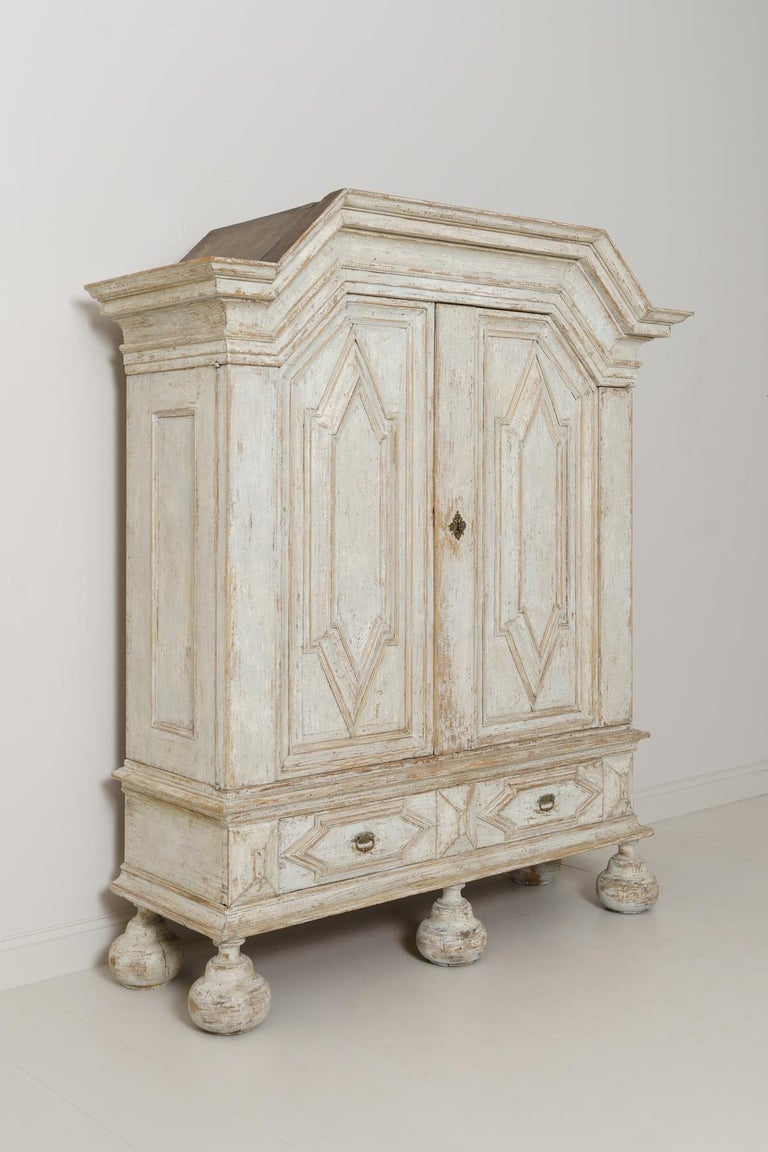 18th Century Swedish Baroque Period Linen Press Armoire Cabinet For Sale 2