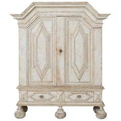 18th Century Swedish Baroque Period Linen Press Armoire Cabinet