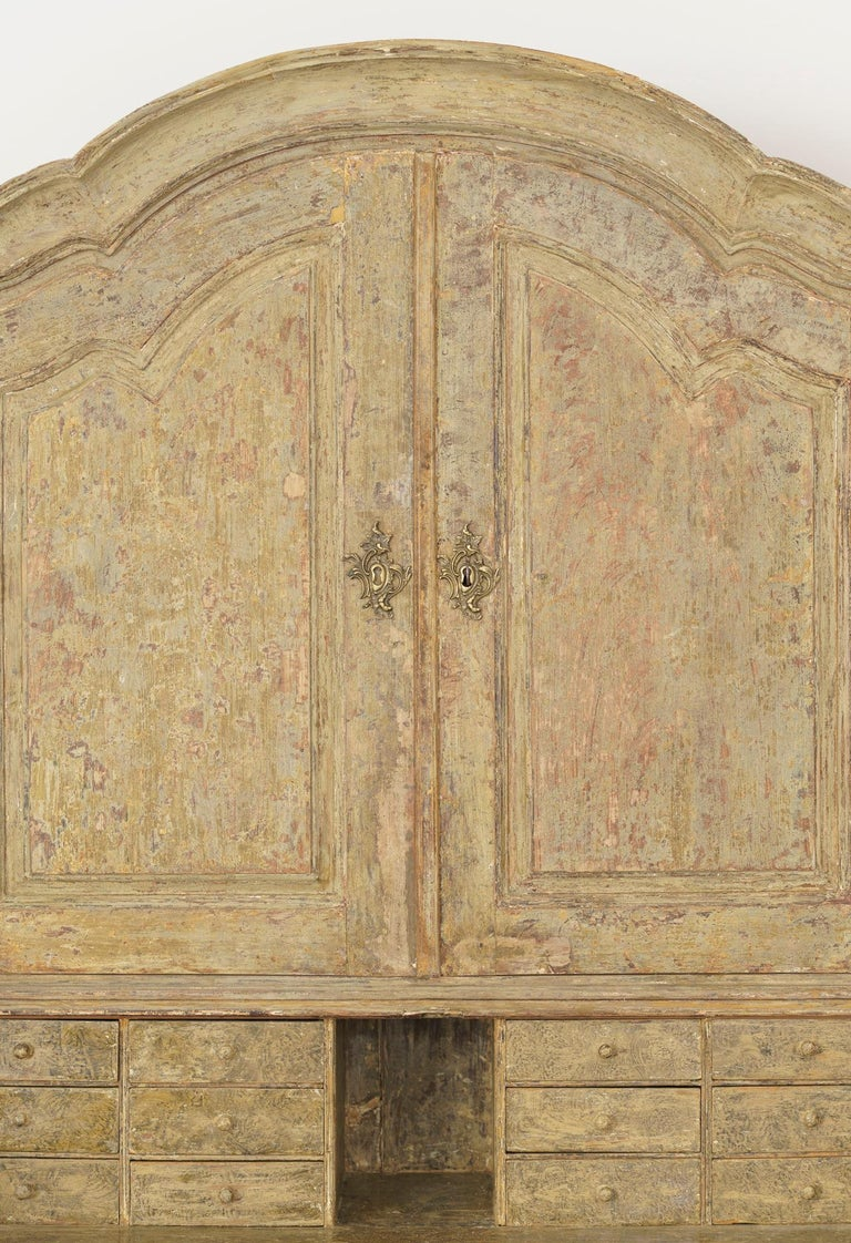 Hand-Carved 18th Century Swedish Baroque Period Secretary with Library in Original Paint For Sale