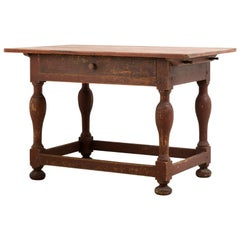 18th Century Swedish Baroque Table in Original Condition