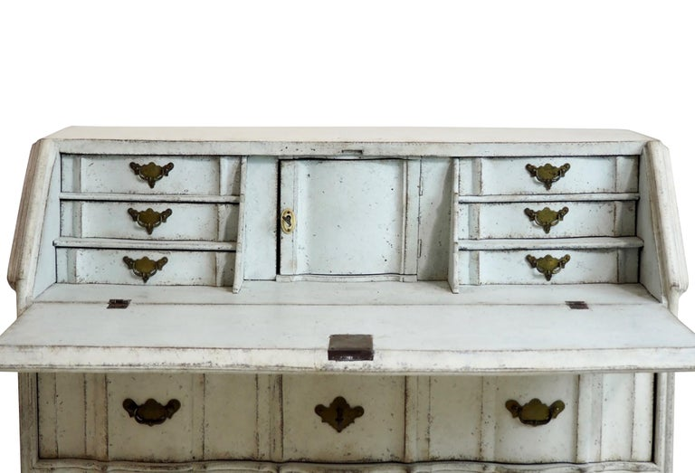 Wood 18th Century Swedish Bureau with Curved Decorative Detailing For Sale
