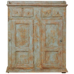 18th Century Swedish Cabinet with Lovely Scraped Blue Finish