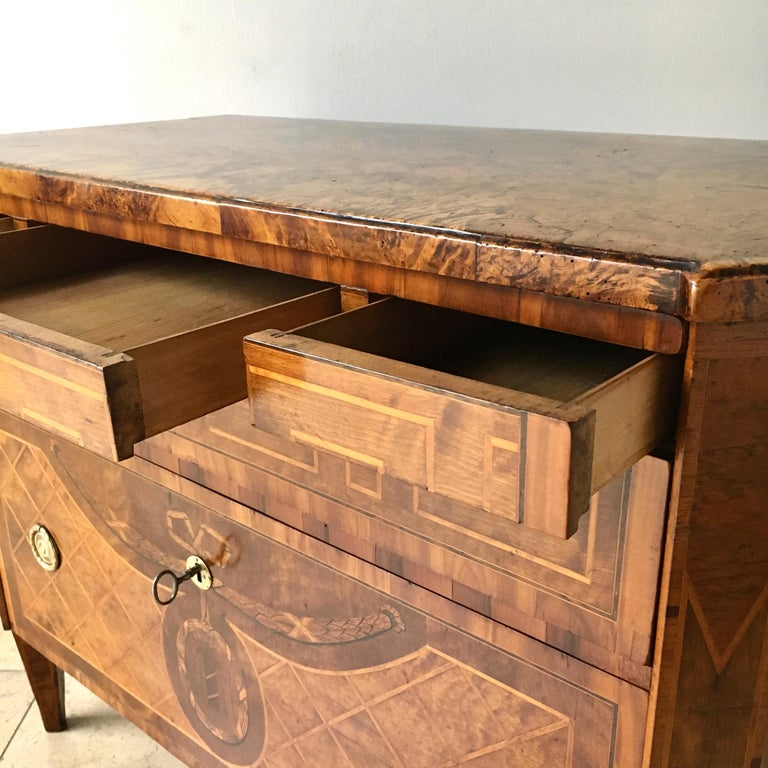 18th Century Swedish Chest of Drawers with Greek Key Detail For Sale 5