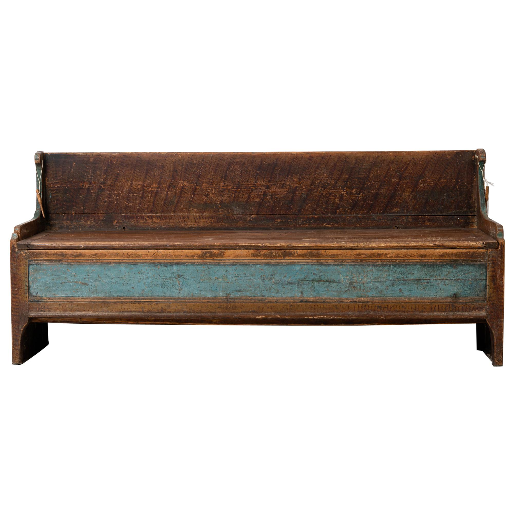 18th Century Swedish Country Bench in Pine