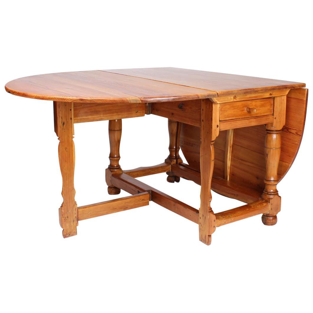18th Century Swedish Drop-Leaf Farmhouse Table, Rustic Pine
