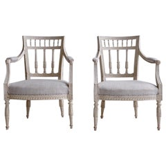 18th Century Swedish Early Gustavian Pair of Armchairs by Johan Erik Höglander
