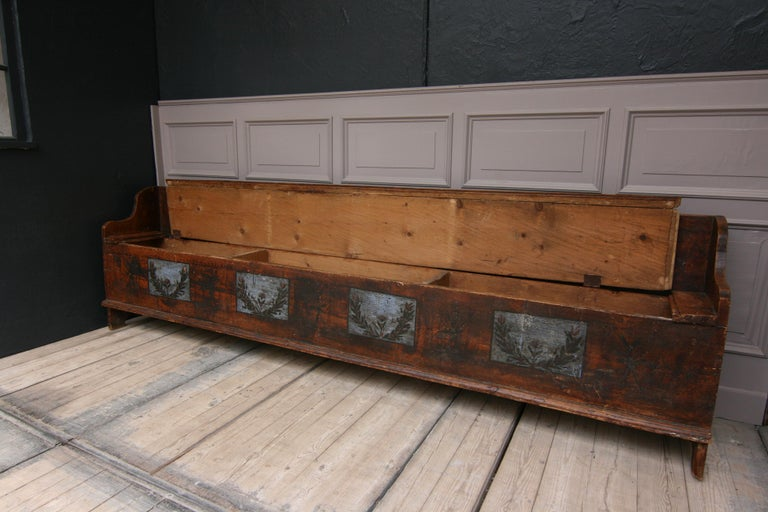 Hand-Painted 18th Century Swedish Folk Art Bench For Sale