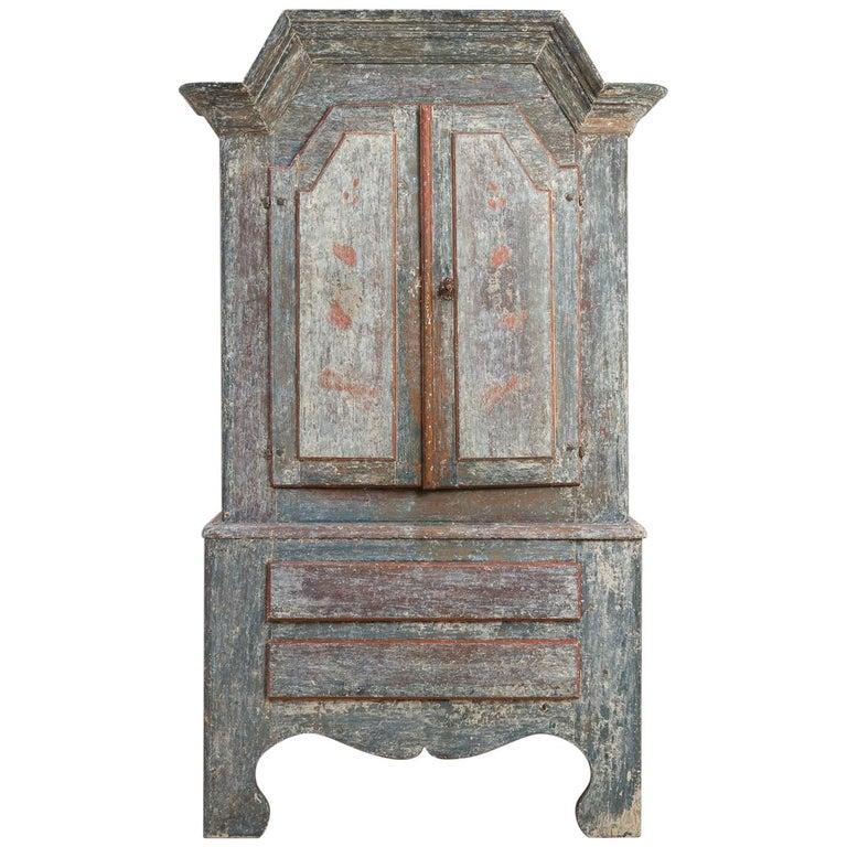 18th Century Swedish Folk Art Cupboard For Sale