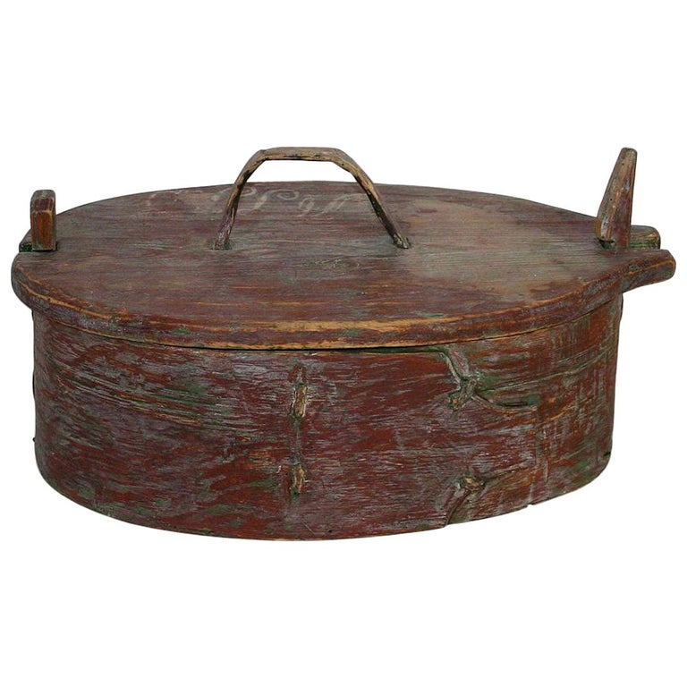 18th Century Swedish Folk Art Painted Bentwood Box For Sale