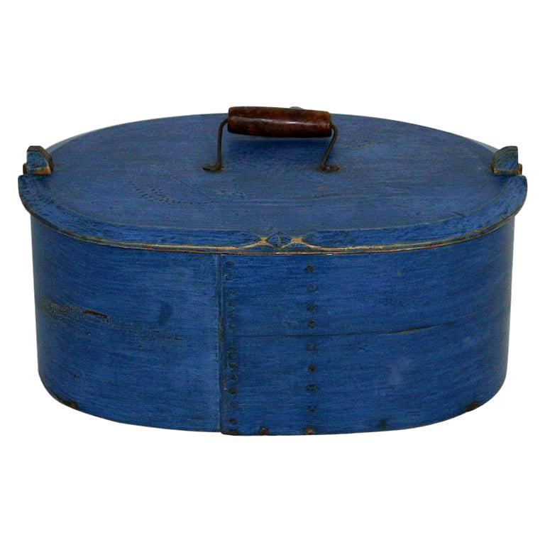 18th Century Swedish Folk Art Painted Bentwood Box For Sale