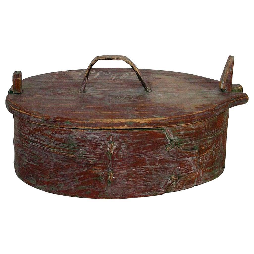 18th Century Swedish Folk Art Painted Bentwood Box